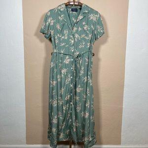 Vintage 90s Jade Green Floral Button Front Dress